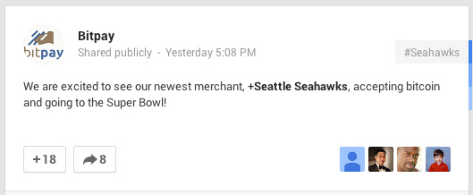 BitPay: Seattle Seahawks Aceitando Bitcoin Post no Google Plus