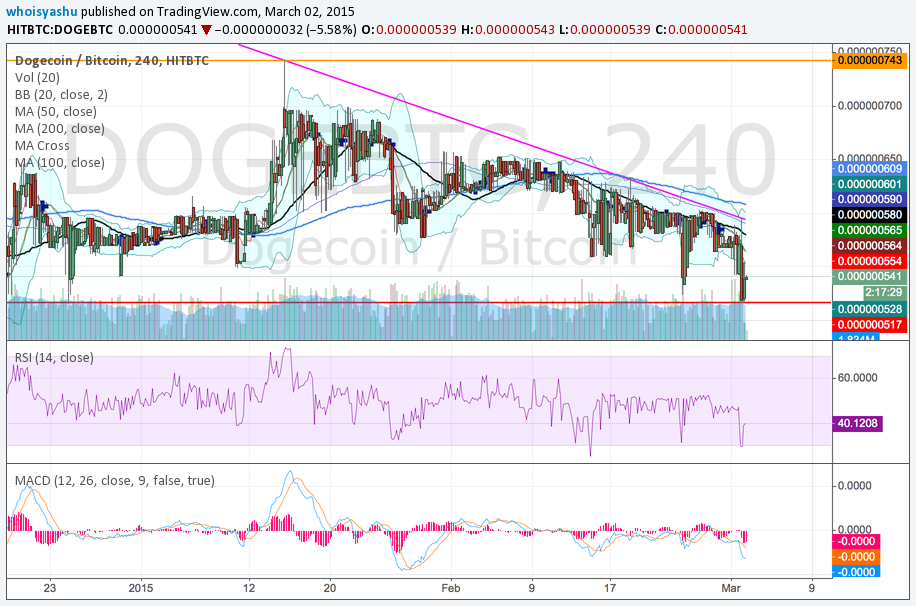 Dogecoin Prisanalys för 2/3/15 - DOGE Price Slides Post Bitcoin Rally