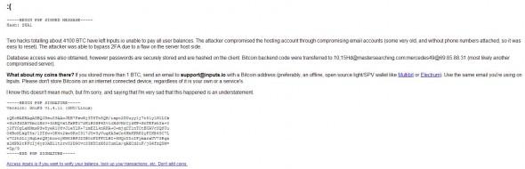 Eingänge. io Hacked: Über 4100 Bitcoins gestohlen