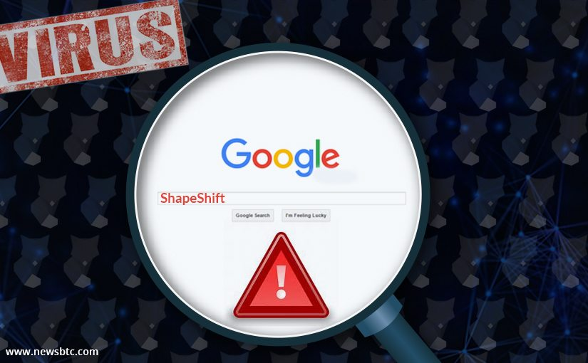 ShapeShift Phishing Site Advertisement Na vrh Rezultati Google pretraživanja
